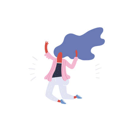 Vector illustration of positive woman in a jump and having fun. Flat drawing great for animation