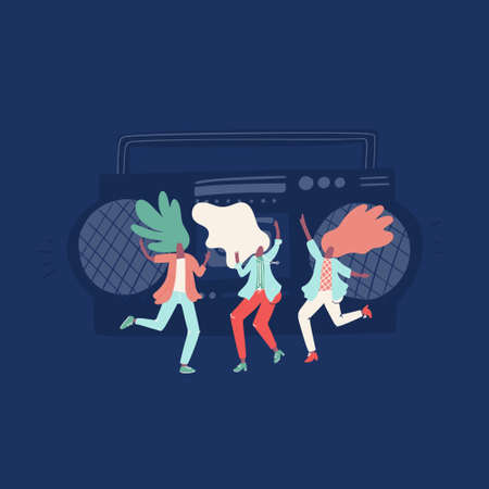 Vector illustration of positive woman dancing and having fun. Flat drawing great for animation Иллюстрация