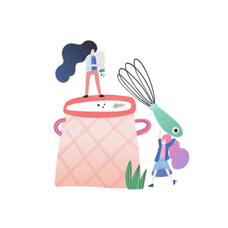 Two women are making dinner together. Handdrawn vector design. Small people cooking concept.