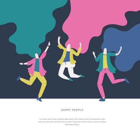 Illustration vectorielle de femme positive dansant et s'amusant. Dessin plat idéal pour l'animation