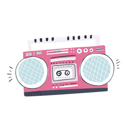 Illustration of vintage music player made in flat style Illustration