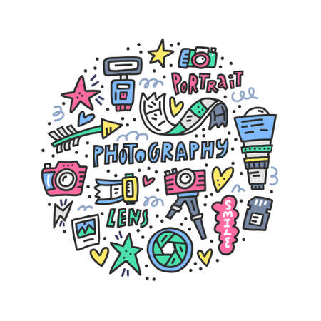 Vector doodle illustration with different symbols of photography for photo studio.
