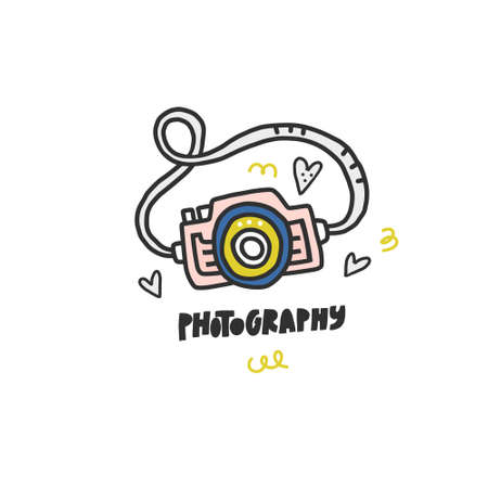 Photo camera and lettering - simple doodle style vector illustration. Photo studio logo concept