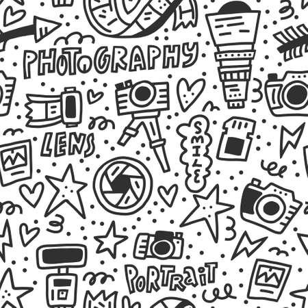 Patrón transparente blanco y negro con símbolos de fotografía: cámara, lente, flash. Ilustración de vector doodle