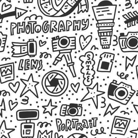 Black and white seamless pattern with symbols of photography - camera, lens, flash. Vector doodle illustration
