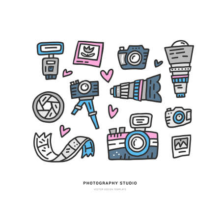 Set of vector illustration made in doodle style with different photo accessories Illustration