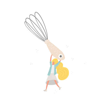 Woman character with the wire whisk. Cooking vector illustration.