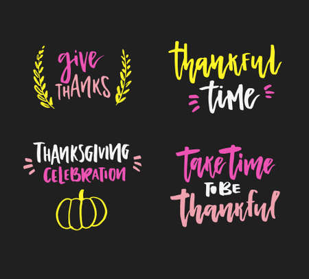Handdrawn lettering on thanksgiving theme. Unique calligraphic quotes and phrases.