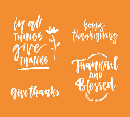 Thanksgiving lettering collection isolated on background