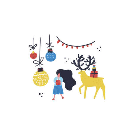 Flat style vector illustration of Christmas concept. Girl, deer and Christmas decorations. Ilustrace