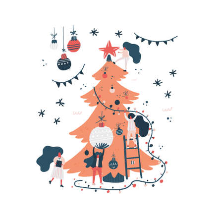 Xmas card illustration. Vector flat design. Group of happy people decorating Christmas tree