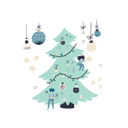Flat style vector illustration of Christmas concept. Xmas or new year card design. People and decorated Christmas tree