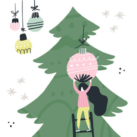 Flat style vector illustration of Christmas concept. Woman decorating Christmas tree with balls.