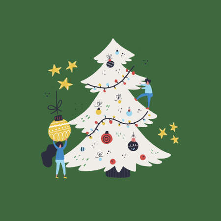 Flat style vector illustration of Christmas concept. People and Christmas tree.