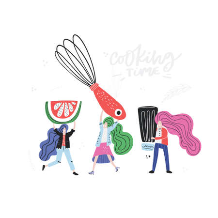 Women cooking concept. Vector illustration made by hand in doodle style.
