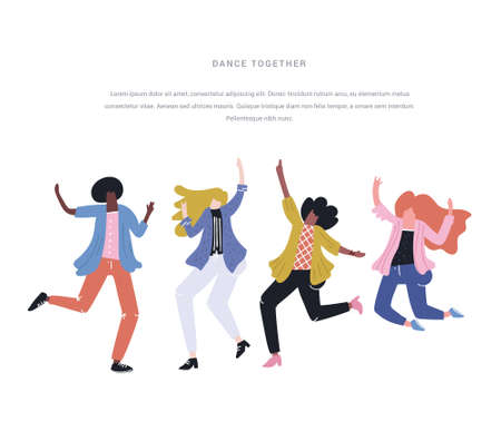 Different happy woman - black and white - dancing. Equality illustration
