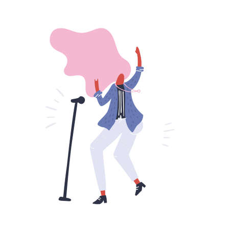 Abstract flat woman dancing and singing. Vector people series