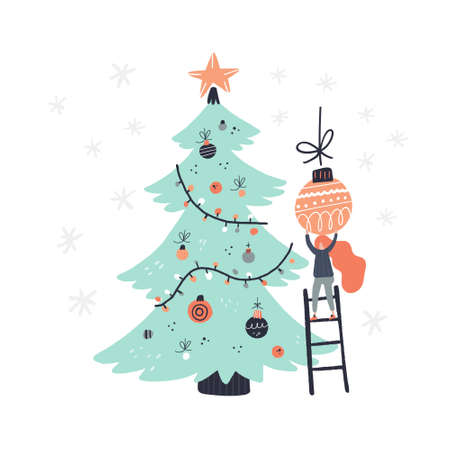 Flat style vector illustration of Christmas concept. Female hanging balls on Christmas tree.