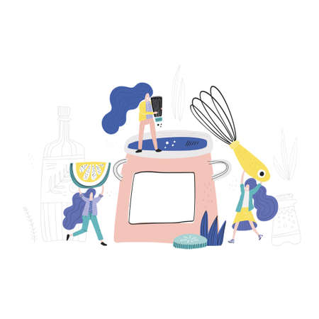 Women making dinner. Small people cooking concept. Hand drawn vector illustration.