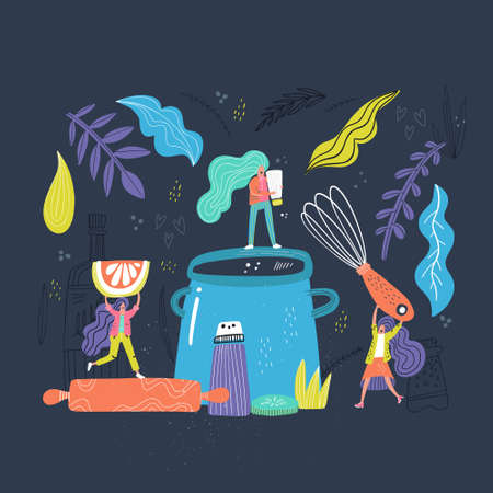Preparing a dinner - cooking  process concept. Hand drawn vector image.