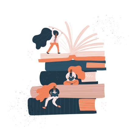 Stack of books and small female - reading concept or book festival advertisment banner