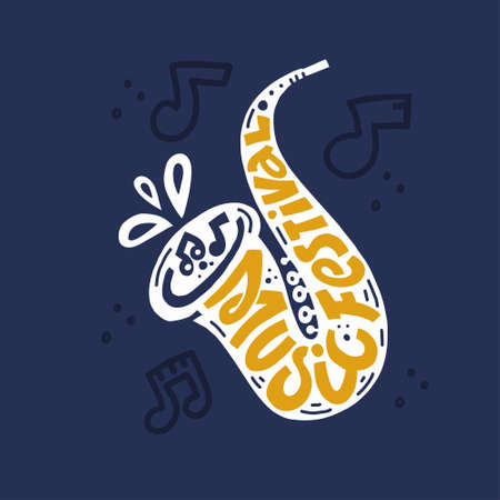 Colorful vector logo of saxophone with stylized lettering Music festival on dark blue background with note elements