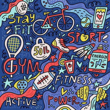 Bunte handgezeichnete Illustration mit Sport- und Fitnesssymbolen im Doodle-Stil. Aktive Symbole der netten Karikatur.
