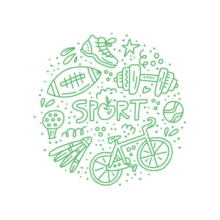 Circle concept illustration with different sport sybols - badminton, nike, football. Stay active vector illustration.