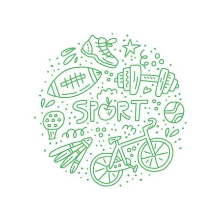 Circle concept illustration with different sport sybols - badminton, nike, football. Stay active vector illustration. 版權商用圖片 - 107282905