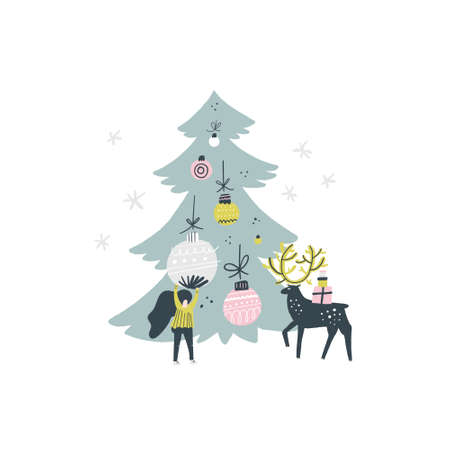 Flat style vector illustration of Christmas concept. Xmas or new year card design. Ilustrace