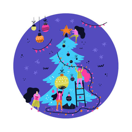 Circle illustration of Christmas tree and people decorating it for celebration