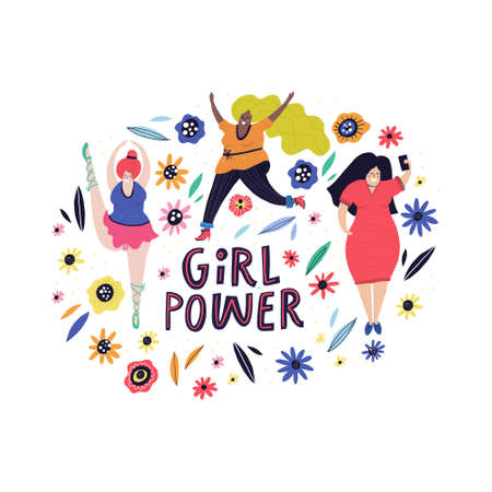 Vector illustration of girl power with plus size female characters.