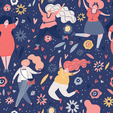 Seamless pattern with curvy woman. Background with different female characters. Plus size models vector illustration.