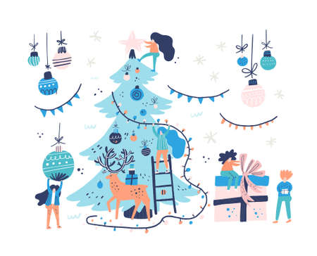 Group of little people decorating christmas tree. Xmas card illustration. Vector flat design of people decorating tree and wrapping up presents