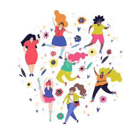 Concepto de positividad corporal: todos los cuerpos son buenos cuerpos. Ilustración vectorial - grupo de mujer de talla grande.