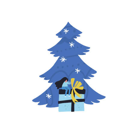 Xmas or new year card design. Flat style vector illustration of Christmas concept with tree and present