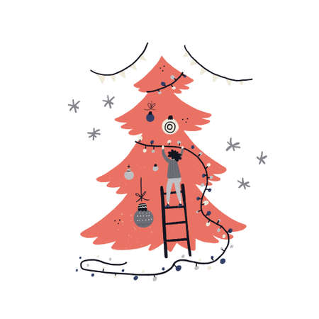 Flat style vector illustration of Christmas concept. Xmas or new year card design. Person hanging lights on the tree