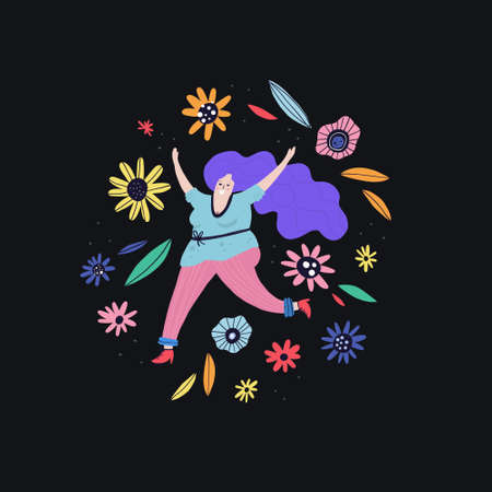 Happy curvy female running with flowers around. Vector illustration, flat style drawing Illustration