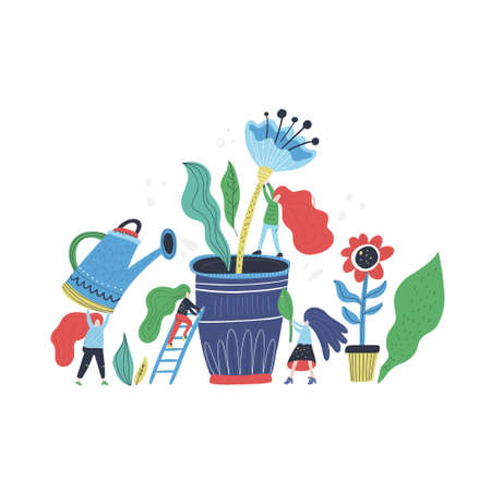 Small woman and giant flower - gardening concept. Vector illustration with cartoon characters taking care of a plant. Иллюстрация