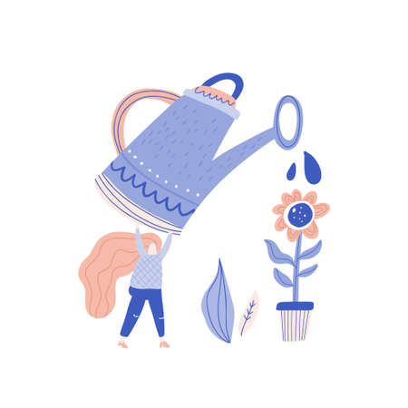 Small woman watering the plant in the pot - disproportional people vector series.