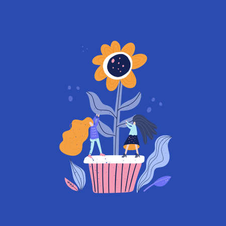 Small woman and giant flower - gardening concept. Vector illustration with cartoon characters taking care of a plant. Illustration