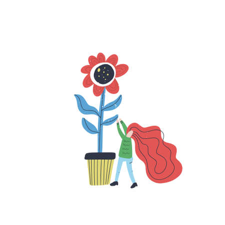 Vector illustration with cartoon characters taking care of a plant. Small woman and giant flower - gardening concept.