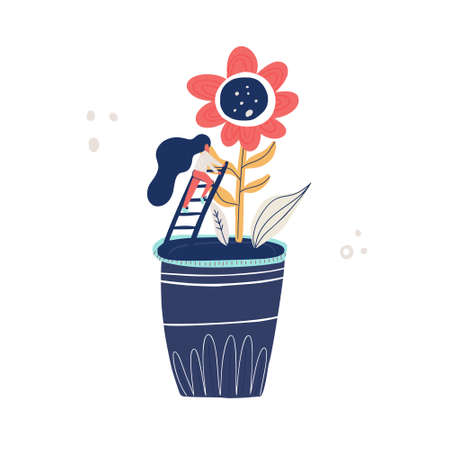 Small woman and giant flower - gardening concept. Vector illustration with cartoon characters taking care of a plant. Vettoriali