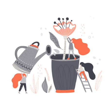 Group of woman taking care of a plant. Growing garden vector illustration. Illustration