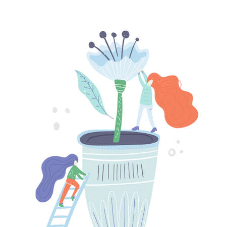 disproportional people vector series - two woman taking care of a plant. Growint houseplants concept.