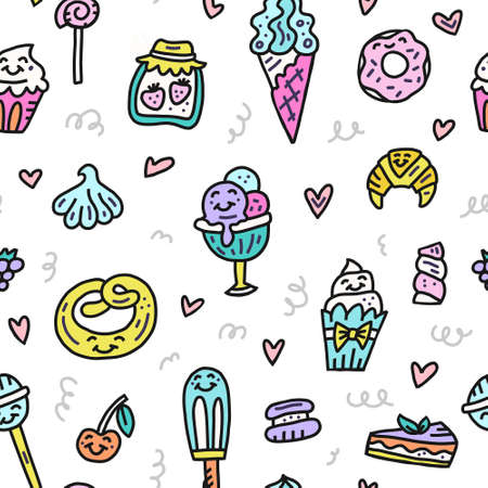 Vector illustration with sweeties and pastries. Colorful dessert pattern. Cartoon design for different backgrounds.