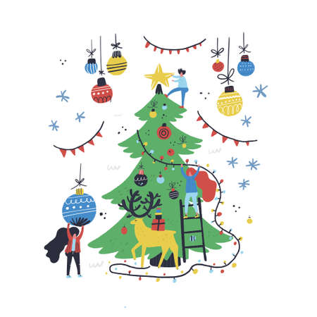 Group of little people decorating christmas tree. Xmas card illustration made in flat style Ilustrace