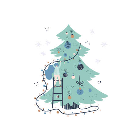 Flat style vector illustration of Christmas concept. Girl and Christmas tree. Xmas or new year card design. Vettoriali