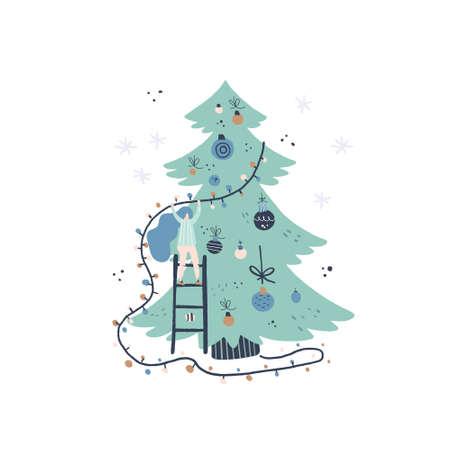 Illustrazione vettoriale di stile piano del concetto di Natale. Ragazza e albero di Natale. Design della carta di Natale o Capodanno. Vettoriali