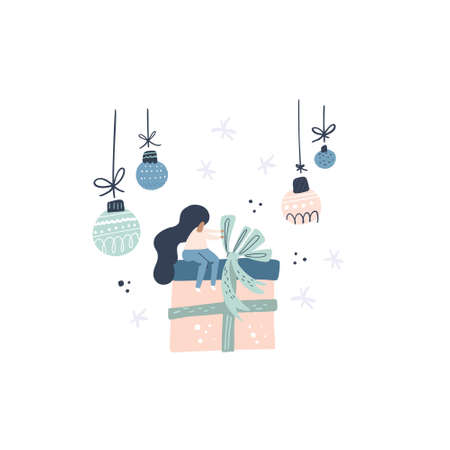 Flat style vector illustration of Christmas concept. Girl wrapping up gian present.